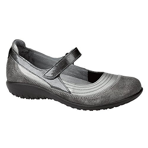 Naot Schoeisel Womens Kirei Mary Jane Flat Grey Shimmer / Sterling / Grey Pat