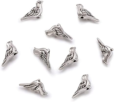 Pendants Lead Free 5 x Antique Silver Tibetan Alloy Bird charms