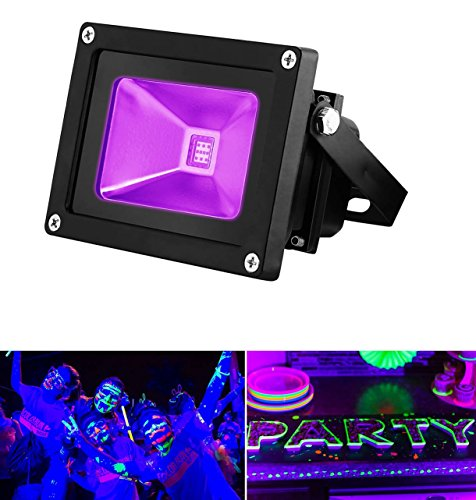 UV LED Black Light, YKDtronics Indoor/Outdoor 10W UV LED Flood Light, Ultra Violet LED Flood Light for Neon Glow, Blacklight Party, Stage Lighting, Fluorescent Effect, Glow in the Dark and Curing