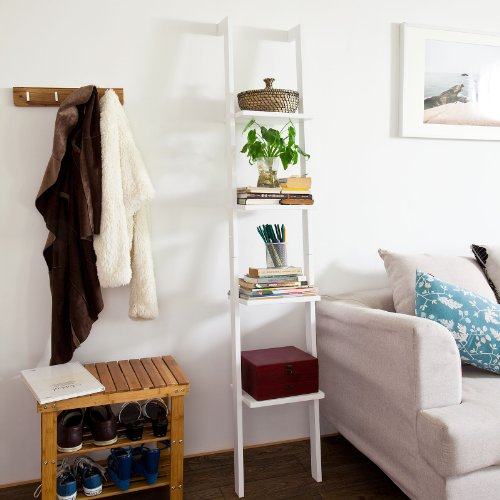 SoBuy White Modern Wood Ladder Shelf, 4 Tiers Stand Shelf Wall Shelf ,Bookcase, FRG15-W