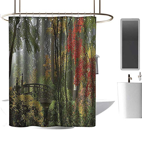 - Shower Curtain Customized Apartment Decor Collection,Wet Wooden Bridge at Portland Japanese Garden Oregon in Autumn with Various Trees Picture,Paprika Green for Bathroom Showers W48 xH84 inch