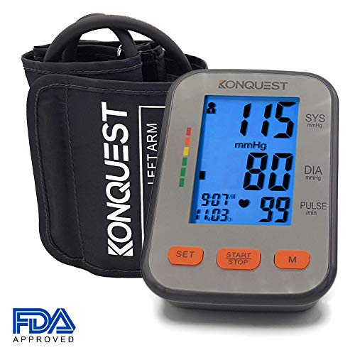 Konquest KBP-2704A Automatic Upper Arm Blood Pressure Monitor - Accurate, FDA Approved - Adjustable Cuff, Large Screen Display, Portable Case - Irregular Heartbeat & Hypertension Detector -Tensiometro ()