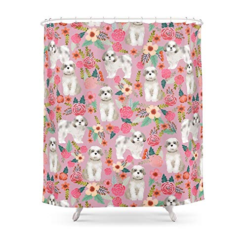 (fengyijiating Shih Tzu Florals Love Gift for Dog Person Pet Friendly Portrait Dog Breeds Unique Small Puppy Shower Curtain 60