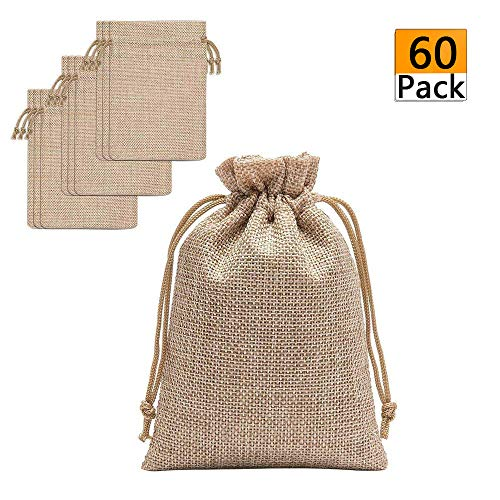 60 Pieces Burlap Bags with Drawstring - 5.3x3.8 inch Drawstring Gift Bags Jewelry Pouch for Wedding Party DIY Craft and Christmas
