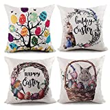EOOUT 4PCS Easter Pillow Covers Rabbit Egg Flower Throw Pillow Cases Cotton Linen Cushion Cases 18x18 Inch for Home Decor (4 pcs)