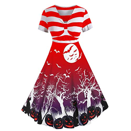 Dresses Womens GREFER Fashion Stripe Printed Splice Gown Dress Sexy Knotted Front V-Neck Halloween Costumes