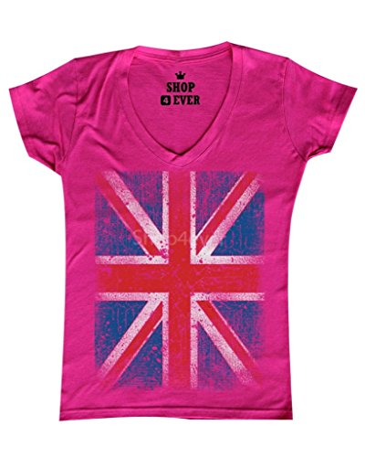 Shop4Ever Vintage Union Jack British Flag Women's V-Neck T-shirt United Kingdom Flag Shirts Small Pink 0 (Pink Jack Union)