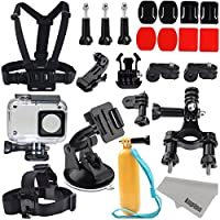 Kupton Accessories for Xiaomi 4K/ Yi 4K+/Yi Lite, Xiaoyi 4K Waterproof Housing Case+ Head Strap+ Chest Harness+ Car Suction Cup+ Bike Handlebar Mount+ Floaty Handle Action Camera Starter Kit