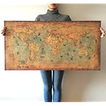 "Vintage Map Of The World Wall Sticker Decor Poster Antique Kraft Paper World Map 40""x20"""