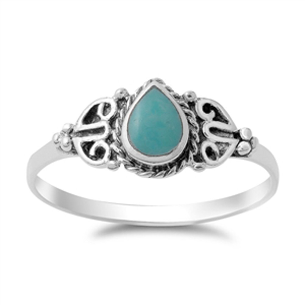 Vintage Celtic Simulated Turquoise Fashion Ring New .925 Sterling Silver Band Size 9