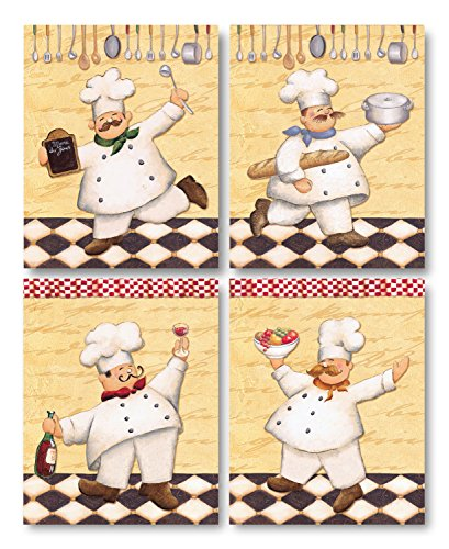 Le Chef; Classy, Vintage French Chef Set; Four 8 x 10 Poster Prints