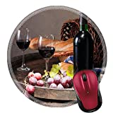 Liili Round Mouse Pad Natural Rubber Mousepad IMAGE ID: 18130004 still life with red wine bottle glass and old barrel