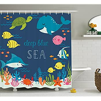 Ambesonne Sea Animals Decor Shower Curtain Set Bathroom Accessories 69W X 70L Inches Turquoise White Pattern with Smiling Whale Cartoon Repeated Design Children Illustration