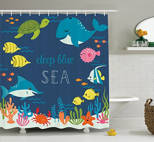 Cartoon Decor Shower Curtain Set by Ambesonne, Artsy Underwater Graphic with Algaes Coral Reefs Turtles Sword Fishes the Life Aquatic Motion, Bathroom Accessories, 75 Inches Long, Multi (Fish Of Rug School)
