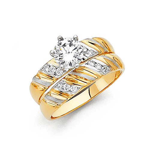 Sonia Jewels 14k White Yellow and Rose Three Color Gold Ladies Cubic Zirconia CZ Wedding Band and Engagement Bridal Ring Two Piece Set Size 7.5