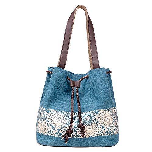M-Queen Donna tela di canapa Borsa Borsa a spalla Tote bag con Print Stile etnico fiore blu moda progettazione bag