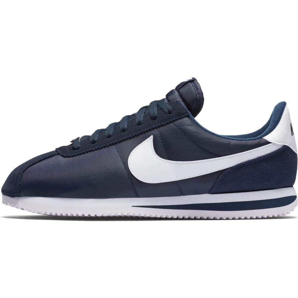 Nike Men's Cortez Basic Nylon Obsidian/White/Mtllc Slvr Casual Shoe (10.5)