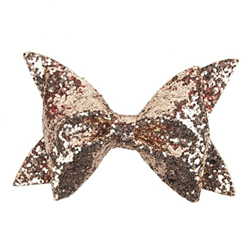 Botrong Hair Clip, Baby Girls Sequins Bowknot Hairpin Headdress (Coffee)