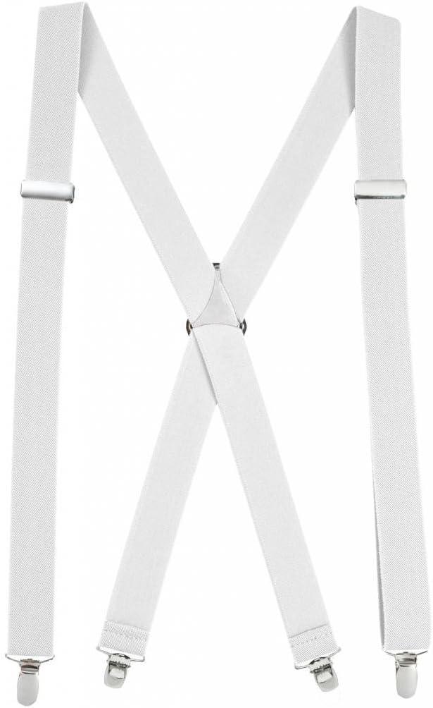 Mens Elastic X-Back Adjustable Straight Clip On Suspenders Beige and Black Striped