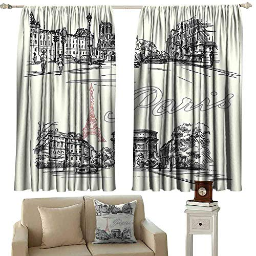 DUCKIL Decorative Curtains for Living Room Paris Decor Arch of Triumph Restaurant Monument Old Fashioned Paris Street Sketch Style Art Blackout Draperies for Bedroom Window W55 xL72