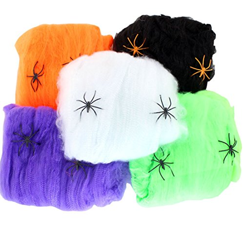 Halloween Spider Webs, Stretchy Spiderwebs With Plastic Spiders for Halloween Party Costume Decorations, Party Favour - 5 PACK (5 Colors)