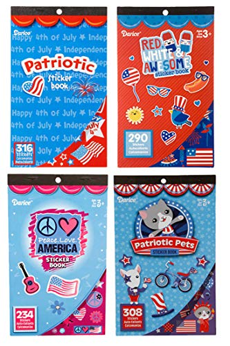 Patriotic 4th of July Theme Sticker Books for Kids with a Total of 1148 Assorted Stickers (Set of 4 -