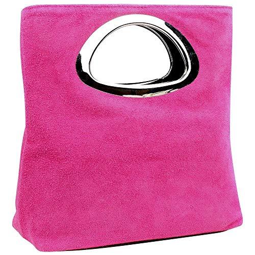 scamosciata pelle donna con BHBS Cm per 15x25x7 sera gu681 metallo in lxaxp in da Borsa manico Rosa q8w8I0