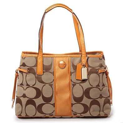 Coach 21949 Signature Stripe Carryall Handbag Khaki and Orange Spice