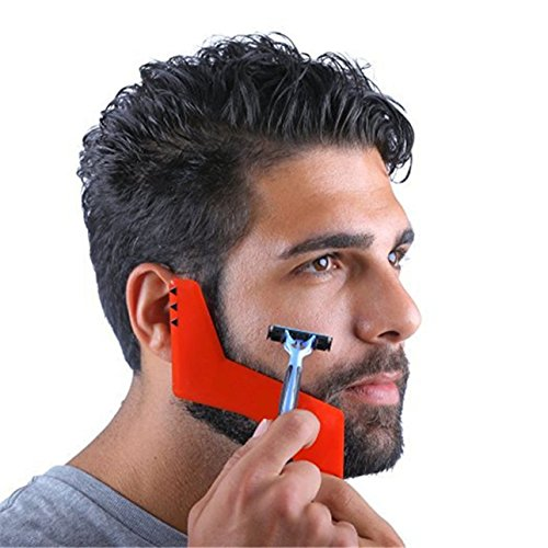 1 Pack Red Comb Hair Brush Professional Beard Shaving Styling Template Carding Tool Combo Pocket Long Round Handle Holder Pleasantness Popular Natural Grooming Women Travel Kit ()