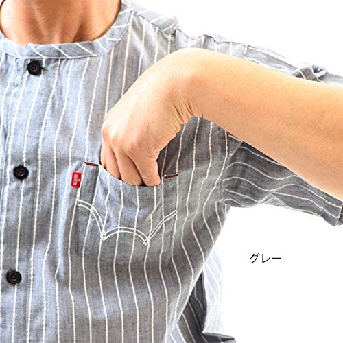 薄手 布帛生地 襟なし メンズ パジャマ 上下セット 半袖全開シャツとひざ下ステテコ