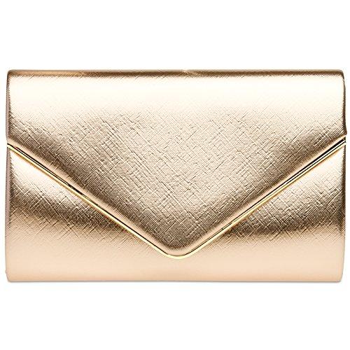 CASPAR TA372 Damen elegante Envelope Clutch Tasche / Abendtasche mit langer Kette roségold 55ho7Ge