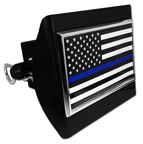 Elektroplate Police Flag Emblem Black Plastic Hitch Cover