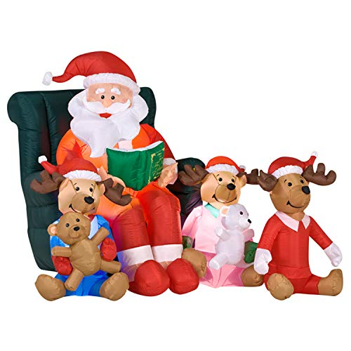 Christmas Masters 6 Foot Long Inflatable Santa Claus Reading a Bedtime Story to His Reindeer Holding Teddy Bears LED Lights Indoor Outdoor Yard Lawn Decoration - Cute Fun Xmas Holiday -