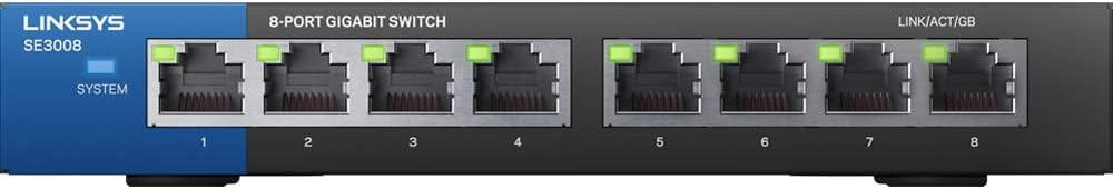 Linksys SE3008 8-Port Metallic Gigabit Switch,White