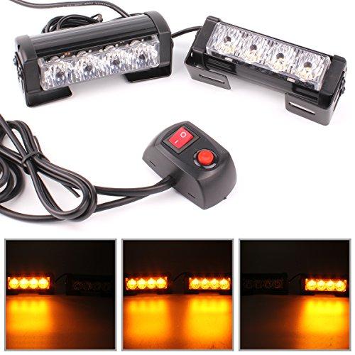GES 2X 4-LED Strobe Lights Universal Waterproof Warning Caution Emergency Light Bar 12V for Cars Trucks (Amber)