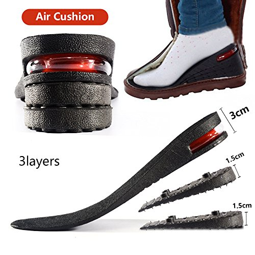 Height Increase Insole 3-layer Air Cushion Heel Insert Lift Shoes Insole for Men and Women Invisible Elevator Adjustable Breathable Insoles by XXIN (Image #6)