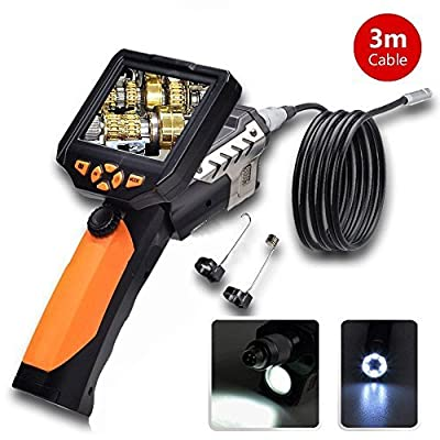 """2015 NEW 3 Meters Dia 8.2mm Tube Snake Camera Cam Endoscope Inspection Borescope Video DVR 3.5"""" Monitor 6 Leds Night Vision Waterproof W/ Hook Magnet Mirror"""