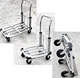 Car Home Aluminum Folding Utility Cart Truck Dolly Flat Hand Moving Sturdy Durable Collapsible Extendible Compact 220 LBS Capacity 28'' 4 Wheels Garage Automotive Home Equipment Transporter - Skroutz