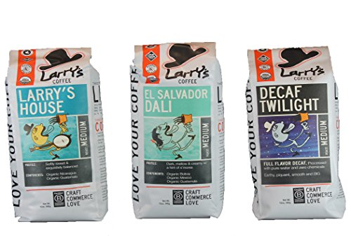 Larry's Coffee Organic Fair Trade Whole Bean, Smooth Flavor Variety Pack, 3-count