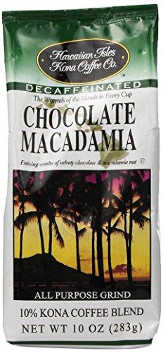 Hawaiian Isles Kona Coffee Ground Chocolate Macadamia 10 Oz. Bag (Macadamia Nut Flavored Decaf Coffee)