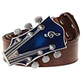 Reinhar Fashion Men's belt metal buckle belts Retro guitar Street Dance accessories Performance apparel hip hop waistband novel belt 5 115cm