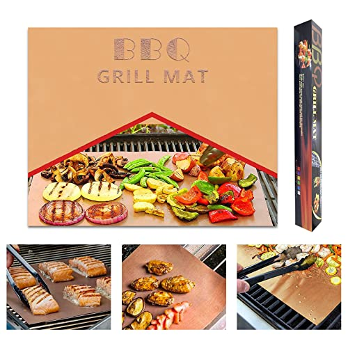 Yu luo Grill Mats 100% Non-Stick BBQ Mat for Grilling, Grill Mat for Outdoor Cooking Reusable and Easy to Clean for Gas, Charcoal, Electric BBQ Grill 15.7x13, Set of 5 Pieces (Copper)