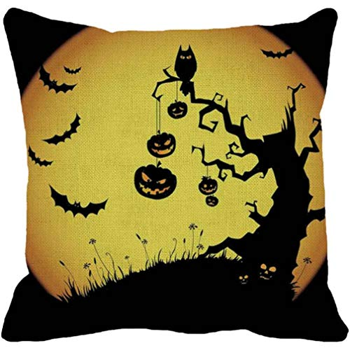 GREFER Halloween Pumpkin Printed Square Pillow Cover Cushion Case Pillowcase Zipper Closure (D) ()