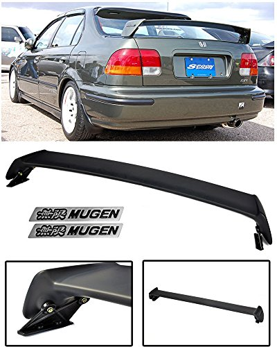 VXMOTOR for 1996-2000 Honda Civic 4 Door 4DR Sedan Mugen Style ABS Plastic Rear Trunk Lip Wing Spoiler + Black (00 Honda Civic Rear Trunk)
