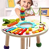 MG.QING Knock Piano Music Table Baby Multi-Function Game Table Baby Puzzle Early Education Wooden