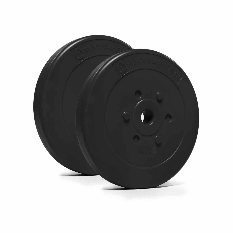 #DoYourFitness® Hantelscheiben ab 1,25kg bis 15kg - Lieferung stets 2X Gewichte - bodenfreundliche Kunststoffummantelung mit 31mm Bohrung (Lang- & Kurzhanteln bis 30/31mm) - Farbe : Schwarz #DoYourSports