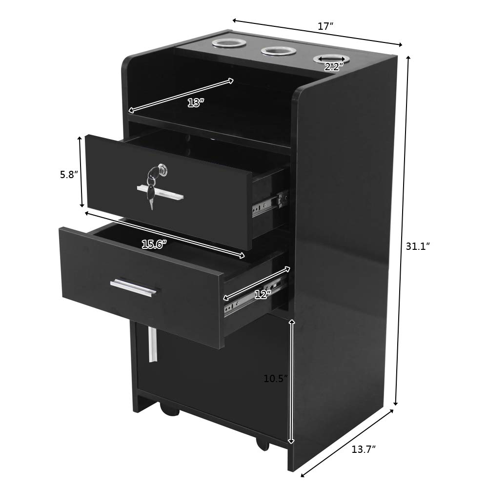 Salon Wood Rolling Drawer Cabinet Trolley Spa 3-Layer Cabinet Equipment with A Lock Black & White (Black) by hellowland (Image #7)