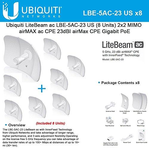 Ubiquiti LiteBeam LBE-5AC-23 US(8UNITS)2x2MIMO 5GHz 23dBI airMax CPE Gigabit PoE by Ubiquiti Networks (Image #1)