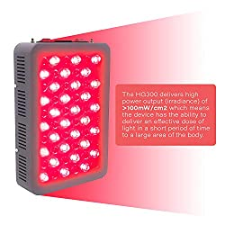 Red Light Therapy Device Red 660nm Near Infrared 850nm, 60 Total LEDs, High Irradiance Over 100mW/cm2 for Anti-Aging, Fat Loss, Muscle Gain, Performance, and Brain Optimization, HG300