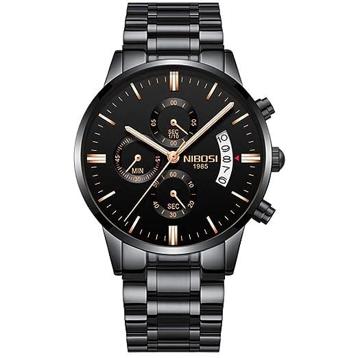 Reloj de Cuarzo de Oro Marca Top Luxury Men Watches Moda Hombre Relojes de Pulsera de Acero Inoxidable: Amazon.es: Relojes